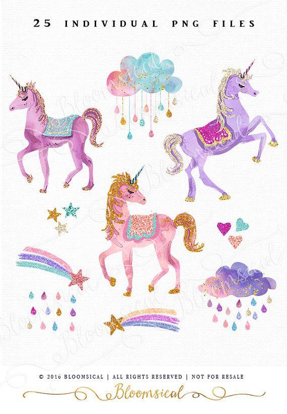 Glitter Unicorns Clip Art Glam unicorn clouds stars by Bloomsical