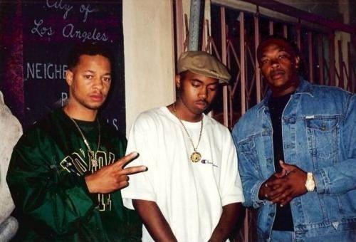 90shiphopraprnb:  Sam Sneed,Nas & Dr. Dre 1994