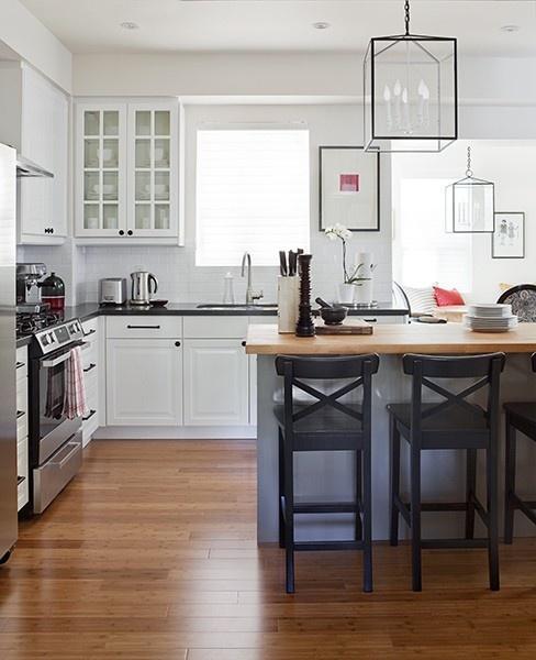 White Kitchen Peninsula: Peninsula, White Cabinets, Glass Fronts, Light Fixtures