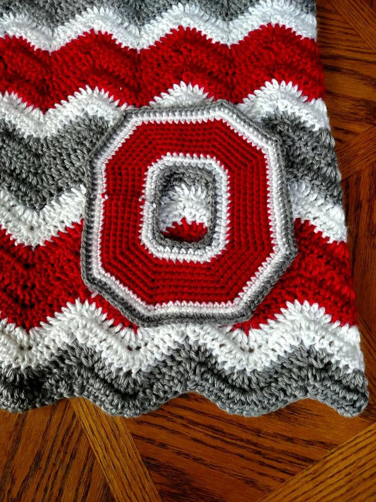Large Ohio State Crochet Applique Block O Patch Large