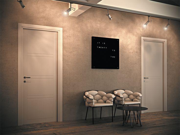 FBP porte | Collezione MADI' Mod. F3 e F1 Colore: laccato RAL 9010 #fbp #porte #legno #door #wood #varnished #woodcut