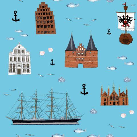 Ein fröhliches maritimes Muster mit Lübeck-Motiven...