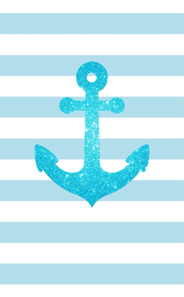 Blue glitter anchor blue white stripes  iphone phone wallpaper background lock screen