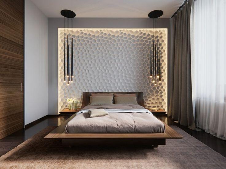 Beleuchtung im Schlafzimmer mit 3D Wandpaneele und Pendelleuchten von Svetlana Nezus