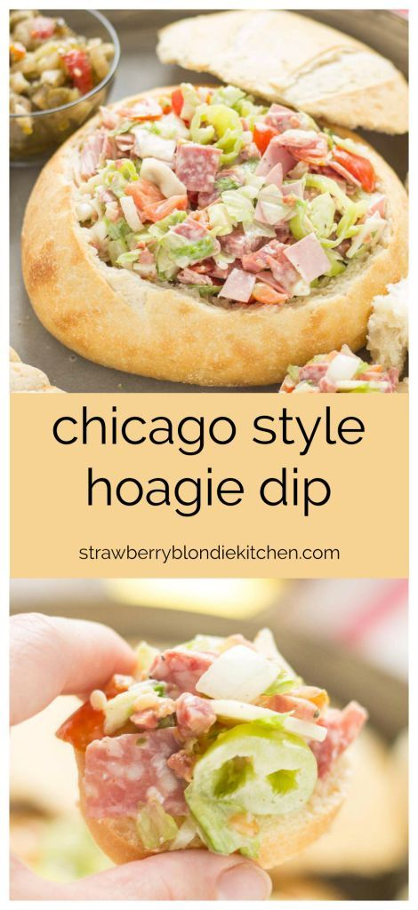 All the classic favorites of an Italian deli sandwich, Meats, cheese, peppers, lettuce and dressing all piled high inside of a bread bowl make this Chicago Style Hoagie Dip a new game day favorite! | Strawberry Blondie Kitchen