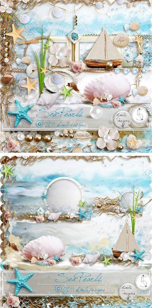 海をイメージさせる素材(貝殻、ヨット、ヒトデ、真珠、波、砂浜)のスクラップキットです。 画像形式:透過PNG depositfiles.com