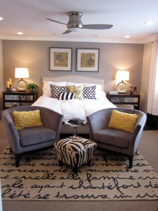 Grey and yellow bedroom. Love the rug!