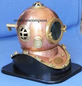 Anchor Engineering Divers Diving Helmet W Wooden Stand - Karl Heinke GERMANY Helmet Size- 42 x 36 x 42cm (Base Size extra)