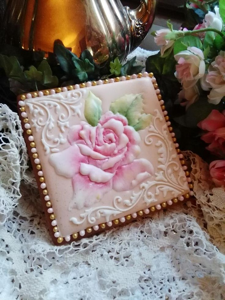 Pink rose cookie by Teri Pringle Wood. Utterly beautiful.