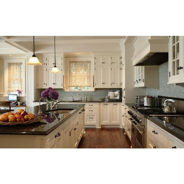 Kitchens blue gray glass subway tiles backsplash ivory for White kitchen cabinets black hardware