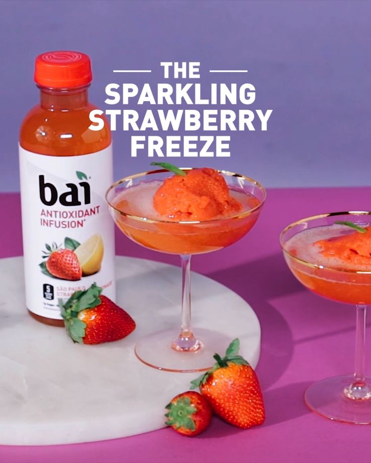 Sip back, relax, and embrace the cold with this Sparkling Strawberry Freeze, featuring Bai São Paulo Strawberry Lemonade, a flavorful refreshment with just 5 calories, 1 gram of sugar and no artificial sweeteners. Please drink responsibly. Must be 21+.