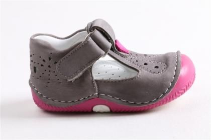 Ay Balım - Kız Bebe Fuşya %100 Nubuk Deri Ortopedik Taban Ayakkabı