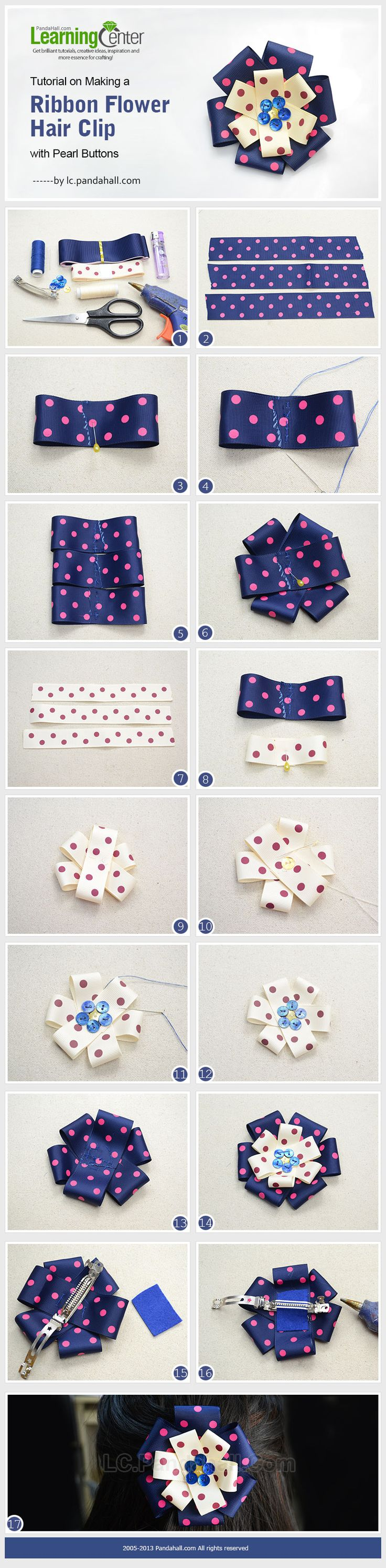Hair bow button accessories - Tutorial On Making A Ribbon Flower Hair Clip With Pearl Buttons