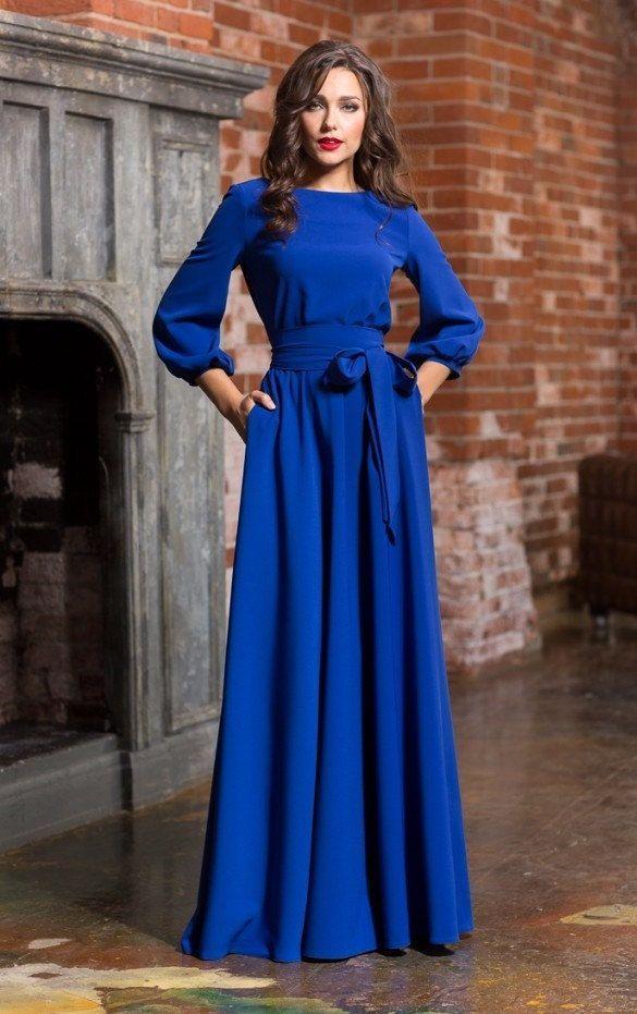 377d8bb93db85 Long woman dress floor Royal blue Autumn Winter Spring with belt 3/4 ...
