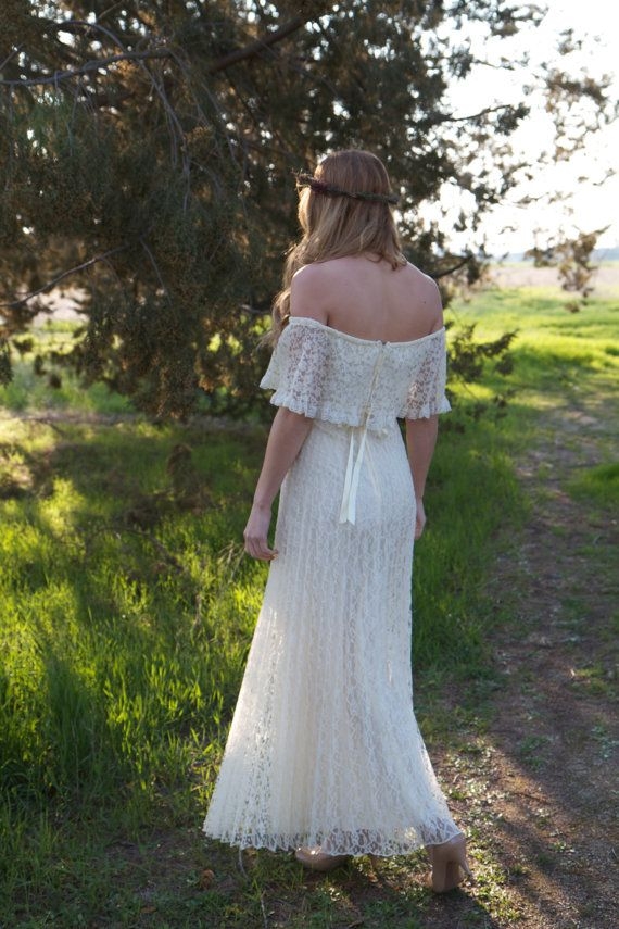 Bohemian Vintage Wedding Dress  Maya by DaughtersOfSimone on Etsy, $650.00
