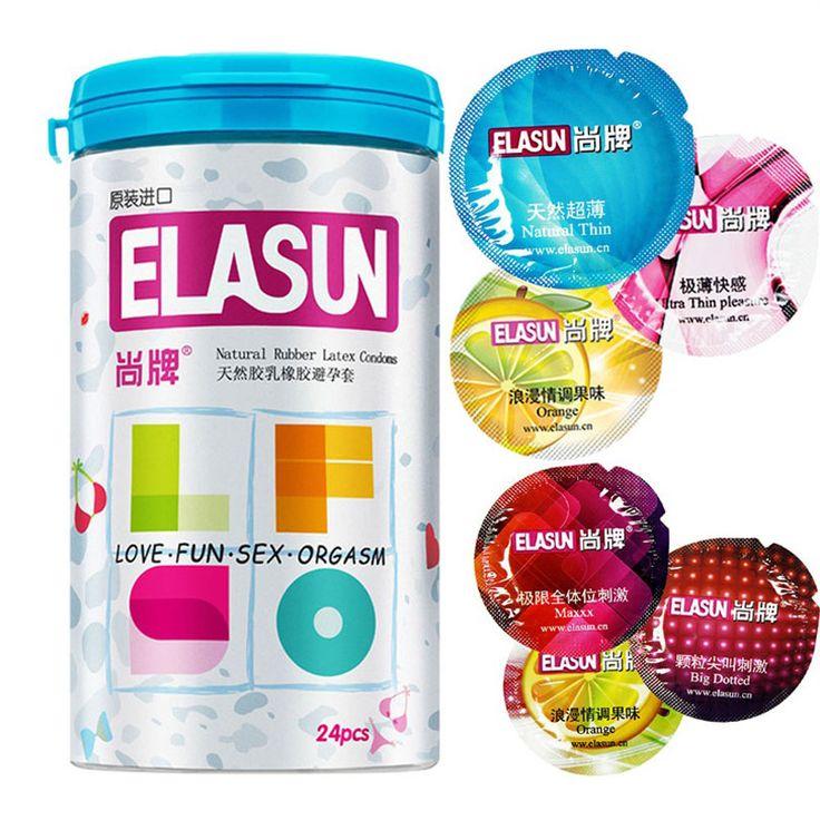 Elasun 24 pz preservativi 5 tipi ultra sottile di ghiaccio e del fuoco condom per l'uomo, prodotti adulti del sesso