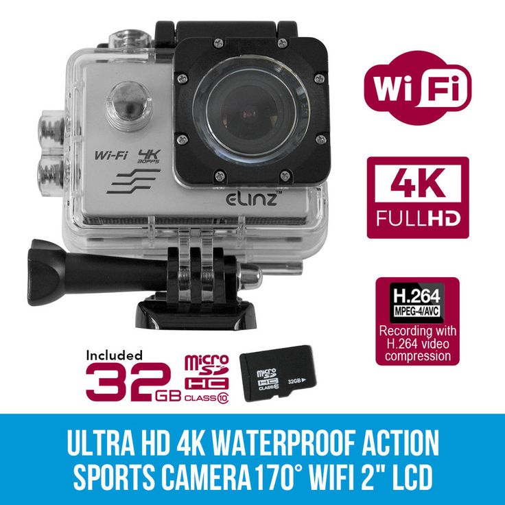 "Ultra HD 4K Waterproof Sports Action Video Camera Camcorder 1080P 170° WiFi 2"" LCD 32GB"