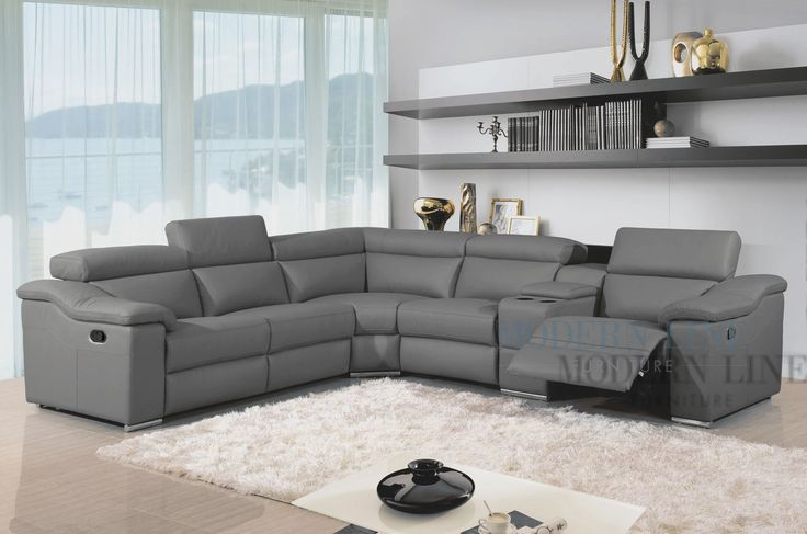 Grey Leather Modern Sectional Sofa With Two Recliners and Mid-Console Conveniece Tray