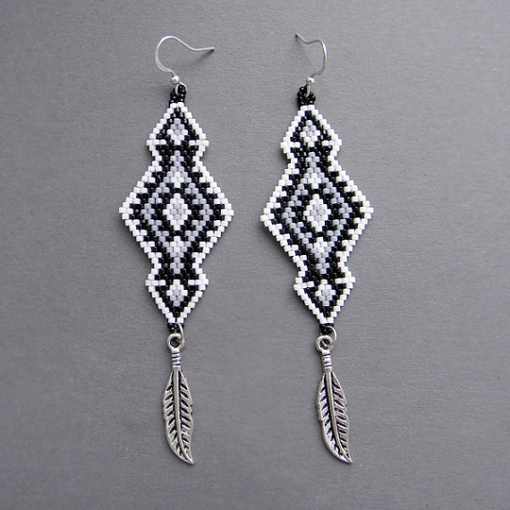 Ethnic Seed Bead Earrings with metallic feathers  by Anabel27shop,