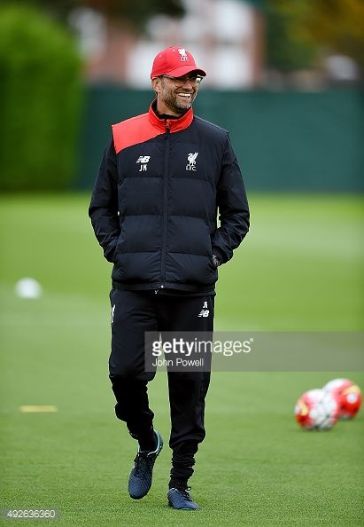 Jurgen Klopp manager of Liverpool during a training session at Melwood Training Ground on October 14, 2015 in Liverpool, England.