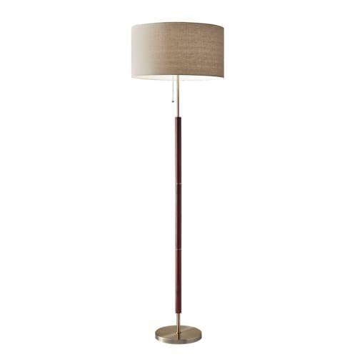 "Adesso 3377 Hamilton 1 Light 19"" Tall Floor Lamp with Natural Linen Shade"