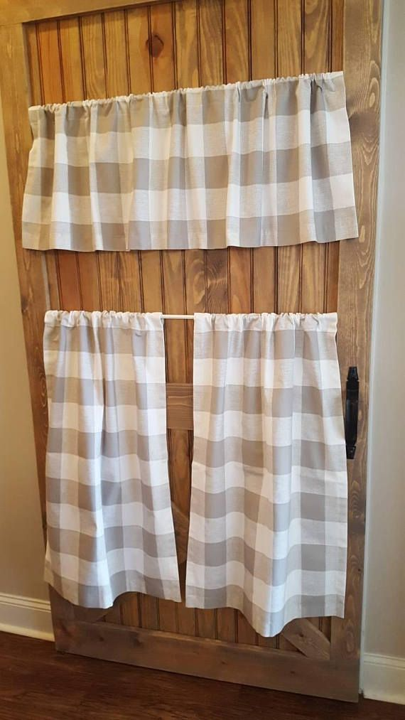 Taupe Gingham Buffalo Check Kitchen Cafe Curtains 2 Panels Cafe Curtains Curtains Valance Curtains