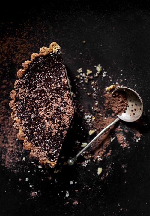 Dark chocolate tart.