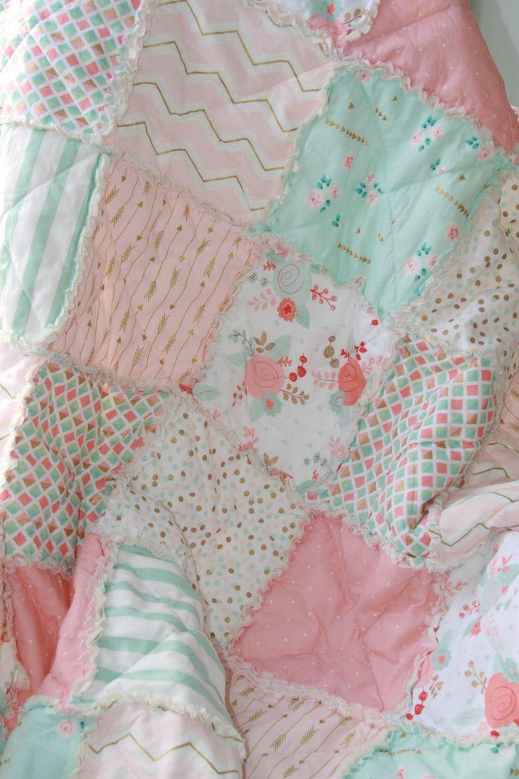 Crib Rag Quilt Baby Girl Crib Bedding Shabby Chic Nursery Gold Mint Peach Nursery by justluved on Etsy https://www.etsy.com/listing/244427142/crib-rag-quilt-baby-girl-crib-bedding