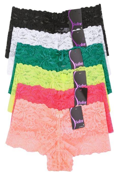 cab3d2b64 6 Pack of Women Hipster Panties Floral Lace Boyshorts Cheeky Underwear  Bikini Panties