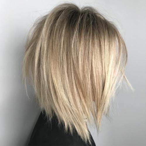 V-Cut and Razored Blonde Bob