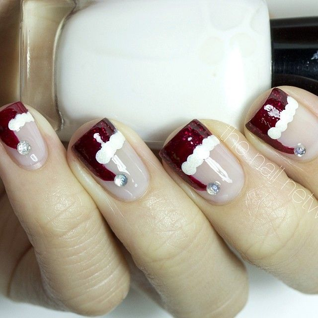 The Nail Network: Santa Hat French Manicure Nail Art - 139 Best Holiday Nails Images On Pinterest Holiday Nails