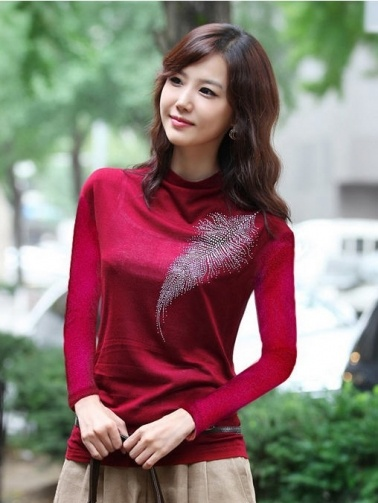 Marvelous Rhinestone Embellished Pattern Leaf Women Long Sleeve T-shirt on BuyTrends.com, only price $10.50