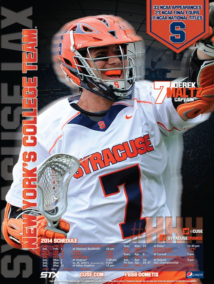 Syracuse Men's Lacrosse Poster 2014 Third of 4 in the