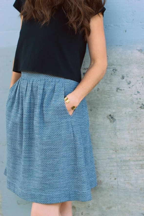 Everyday skirt from Cut Cut Sew featuring Dot Chambray