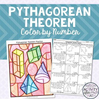 Pythagorean Theorem Coloring By NumberStudents will solve 15 problems involving Pythagorean Theorem. Problems include finding a missing leg or hypotenuse, converse, distance between two points and word problems. When they get their answer they will look at the bottom of the box.