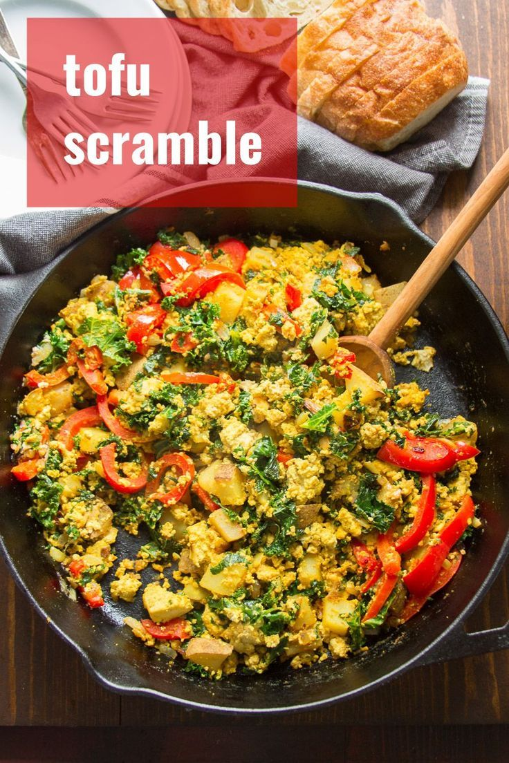 Tofu Scramble With The Works This Savory Vegan Breakfast Is Packed With Flavor And Loaded With Crispy Potat Tofu Scramble Savory Vegan Vegan Breakfast Recipes