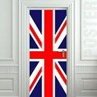"Door STICKER British flag UK banner Great Britain England English London mural decole film self-adhesive poster 30x79""(77x200 cm)"