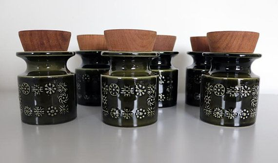 A Set Of 6 Vintage Mid Century Portmeirion Totem Spice/Herb Storage Jars by Susan Williams-Ellis