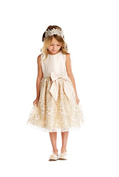 10a53fff14c84 The Gia Dress is great for special occasions, weddings, parties, church or  any fun event! Satin And Gold Embroidered Mesh Round Neckline Sleeveless  Satin ...