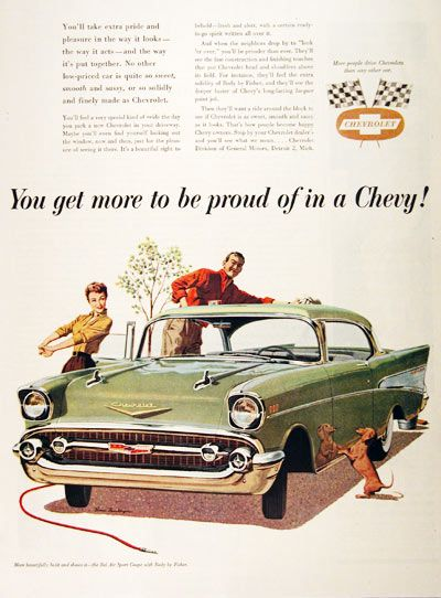 1957 Chevrolet Bel Air Sport Coupe original vintage advertisement. Illustrated in vivid color on car wash day.