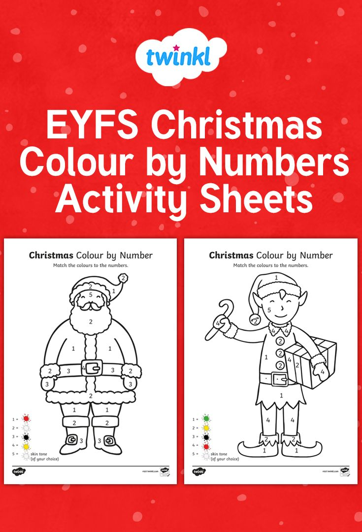 EYFS Christmas Colour by Numbers 18 18 Activities   Christmas ...