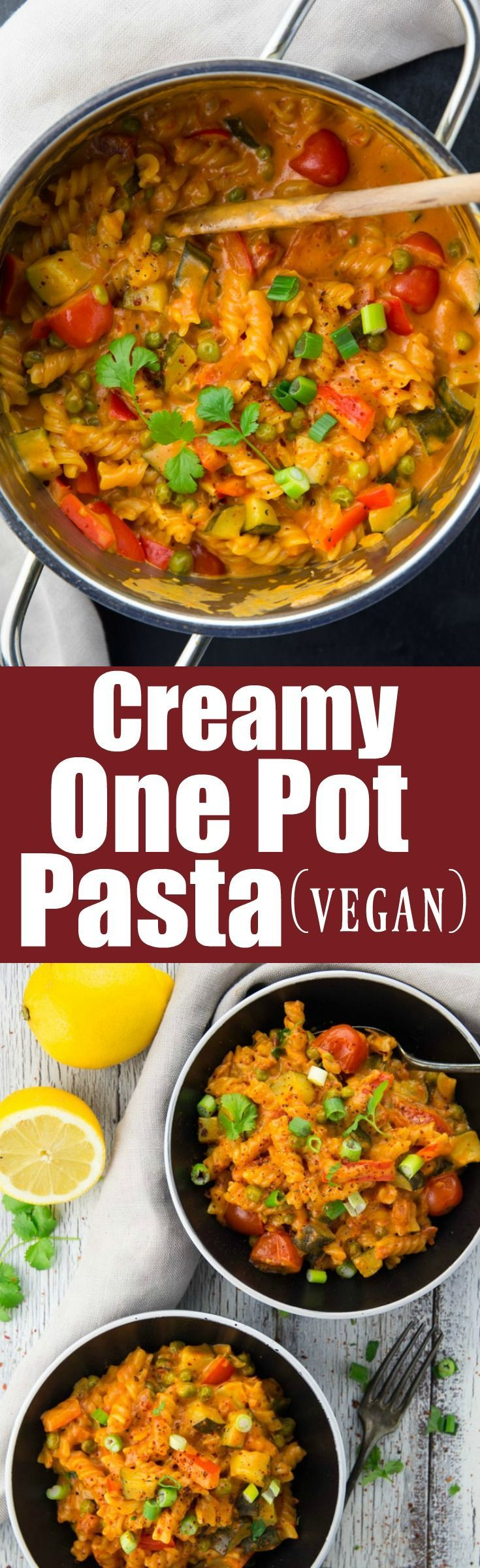 This Asian style vegan one pot pasta is the perfect meal for busy weeknights! It's super creamy, delicious, healthy, and insanely easy to make!