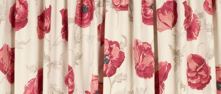 Freshford Red Floral Pencil Pleat Ready Made Curtains at Laura Ashley
