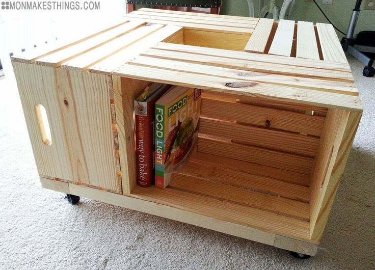 Storage Ottoman DIY. Four crates, 2 x 4s, screws, casters, fabric, buttons. Tutorial.