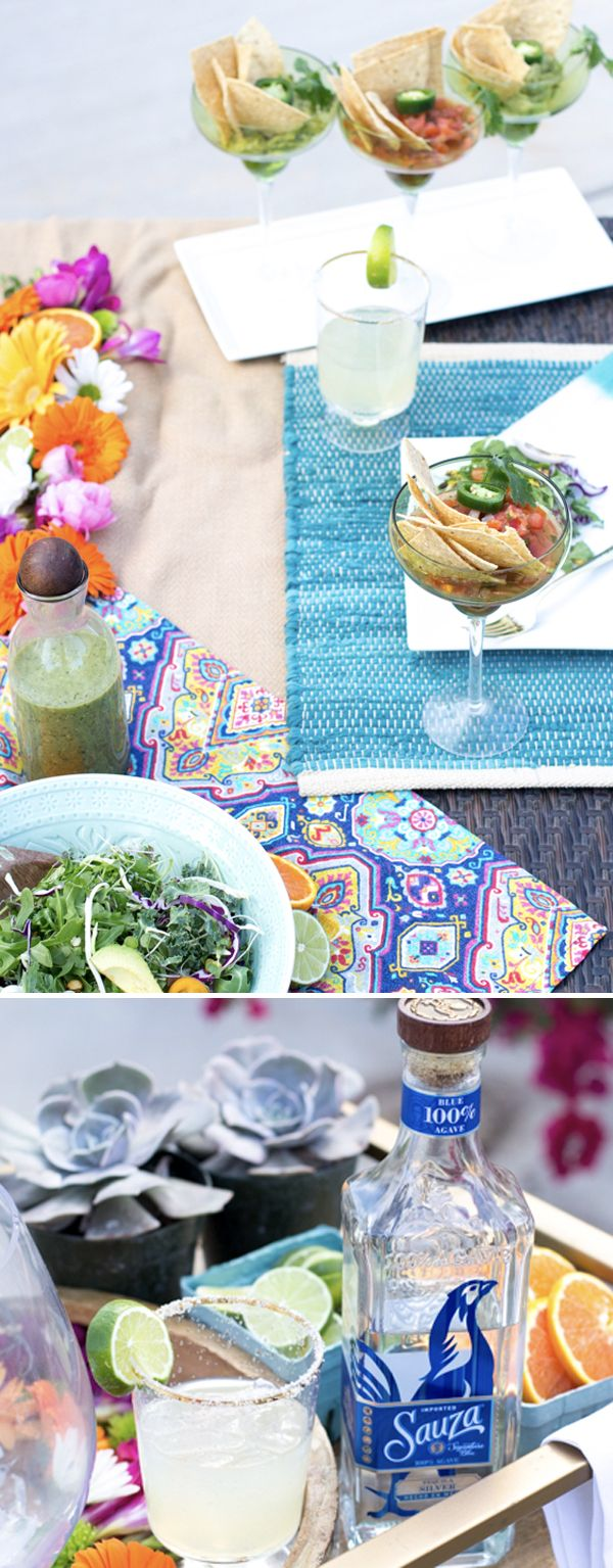This Cinco de Mayo backyard party is full of color and simple Cinco de Mayo party food ideas that you can easily make yourself. #SauzaTequila a