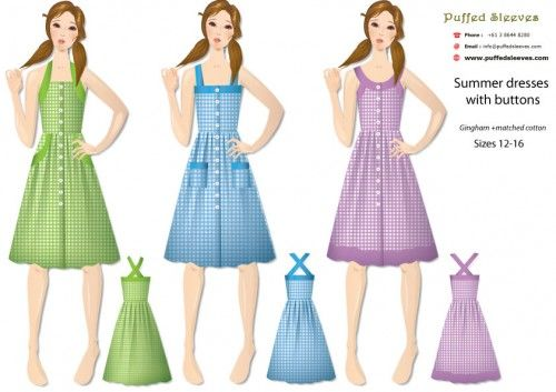 Three variations of gingham summer #dress for teen