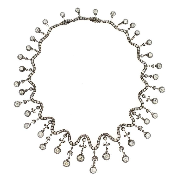 1850s French Old European Cut Diamonds Silver Gold Necklace | From a unique coll...