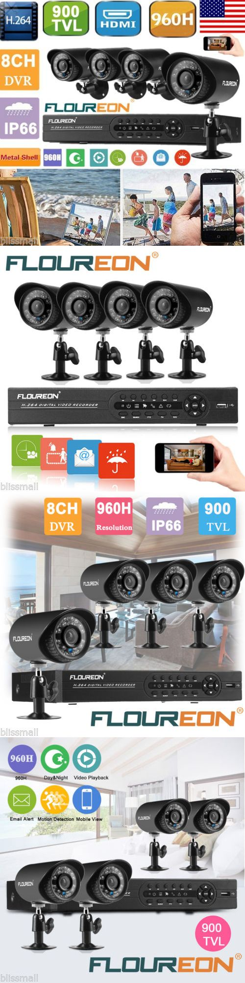 Surveillance Security Systems: Floureon 8Ch 960H Hdmi Dvr 900Tvl Outdoor Video Cctv Security Camera System P2p BUY IT NOW ONLY: $82.99