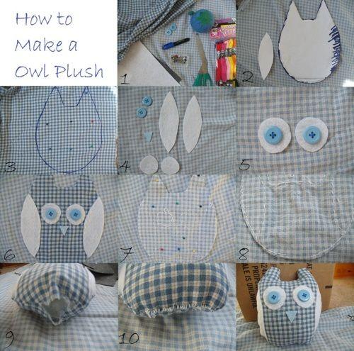 DIY Owl Plush: I'd use a minky type fabric or other plush fabric instead of felt as little teeth can tear felt to shreds.