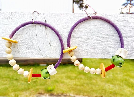 Gipsy Hoop Earrings, African Colorful Jewelry For Her, Boho Statement Hoops, Multicolor Birthday Gift For Girlfriend, Large Ethnic Jewellery #BohemianSummerTales #hoopearrings #colorfulhoops #bohemianjewelry